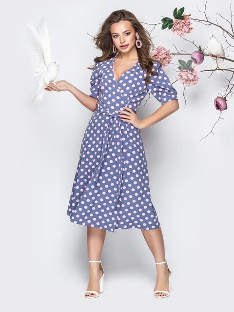 """Голубое платье в горох с запахом и рукавом """"фонарик"""" - 21094, фото 1 – интернет-магазин Dressa"""