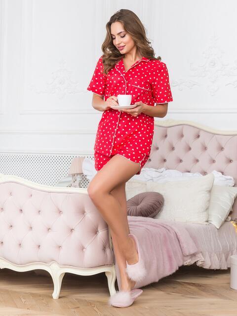 Хлопковая пижама с рубашкой и шортами красная - 18960, фото 1 – интернет-магазин Dressa