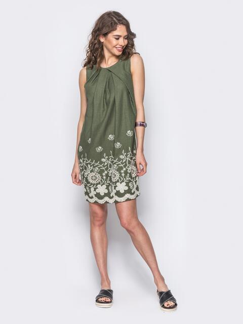 Льняное платье с контрастной прошвой по низу зеленое 11188, фото 2