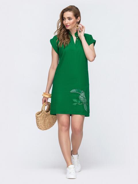 Льняное платье зеленого цвета с вышивкой 48159, фото 1