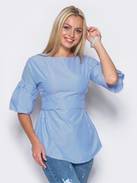 Приталенная блузка без принта с рукавами-воланами - 10157, фото 2 – интернет-магазин Dressa