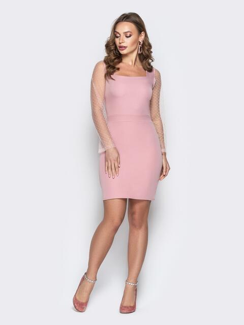 Розовое платье-футляр с квадратным вырезом - 20206, фото 1 – интернет-магазин Dressa