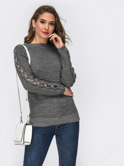Свитер из шерсти с акрилом и жемчужинами на рукавах серый - 42331, фото 1 – интернет-магазин Dressa