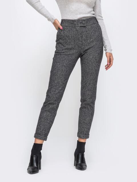 Укороченные брюки с подворотами и стандартной посадкой серые 50568, фото 1