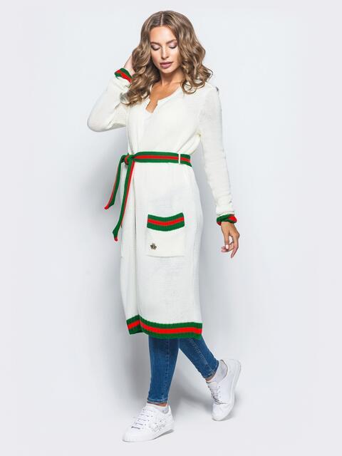 Белый кардиган с контрастным поясом в комплекте - 15877, фото 1 – интернет-магазин Dressa