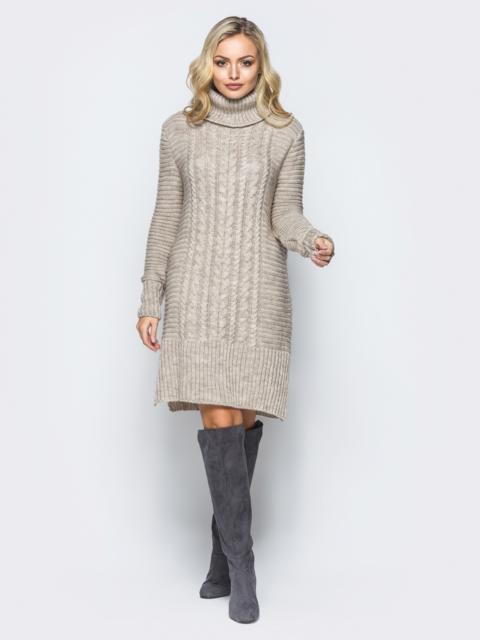 7a14840d9d0 Бежевое вязаное платье с высоким воротником 16096 – купить в Киеве ...