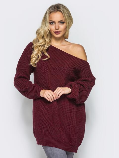 Бордовое платье-туника свободного кроя с открытыми плечами - 15924, фото 1 – интернет-магазин Dressa