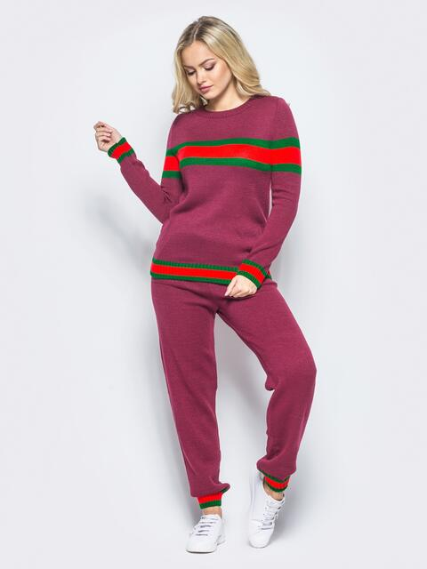 Бордовый вязаный комплект с контрастными вставками - 15905, фото 1 – интернет-магазин Dressa