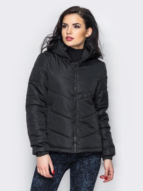 Черная куртка с капюшоном и манжетами на резинке - 12956, фото 2 – интернет-магазин Dressa