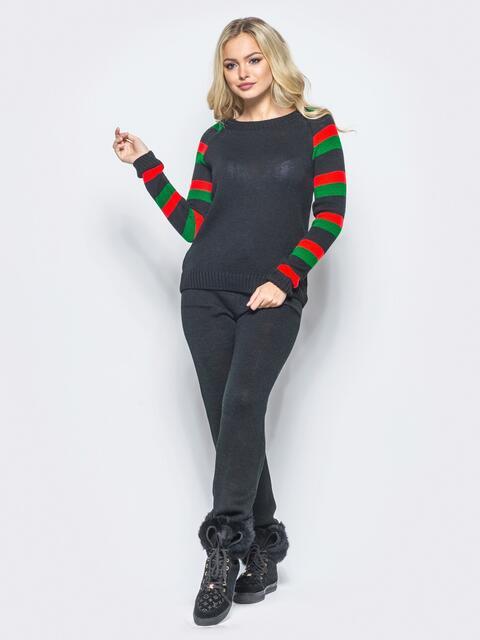 Черный комплект с рукавом реглан в цветную полоску - 15908, фото 1 – интернет-магазин Dressa