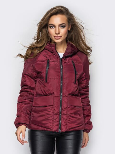 Куртка с капюшоном и накладными карманами бордовая - 12960, фото 1 – интернет-магазин Dressa