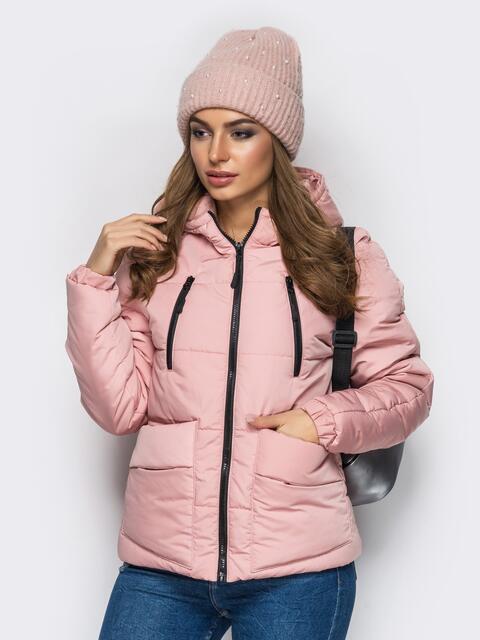 Куртка с капюшоном и накладными карманами розовая - 12962, фото 1 – интернет-магазин Dressa