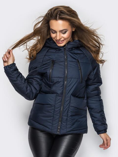 Куртка с капюшоном и накладными карманами тёмно-синяя - 12959, фото 1 – интернет-магазин Dressa