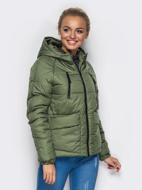 Куртка с капюшоном и накладными карманами зелёная - 12961, фото 1 – интернет-магазин Dressa
