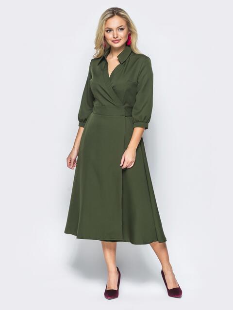 Платье-халат цвета хаки с отложным воротником - 16477, фото 1 – интернет-магазин Dressa