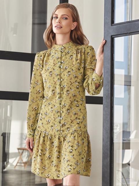 Платье с цветочным принтом и воланом по низу оливковое 55040, фото 1