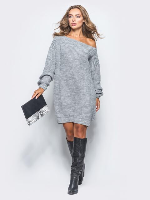 Серое платье-туника свободного кроя с открытыми плечами - 15923, фото 1 – интернет-магазин Dressa