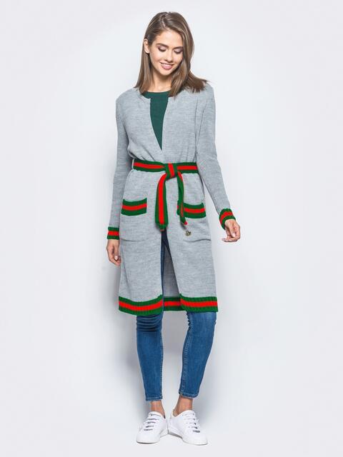 Серый кардиган с контрастным поясом в комплекте - 15878, фото 1 – интернет-магазин Dressa