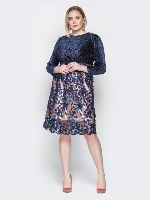 Синее платье с бархатным верхом и гипюровой юбкой - 19984, фото 1 – интернет-магазин Dressa
