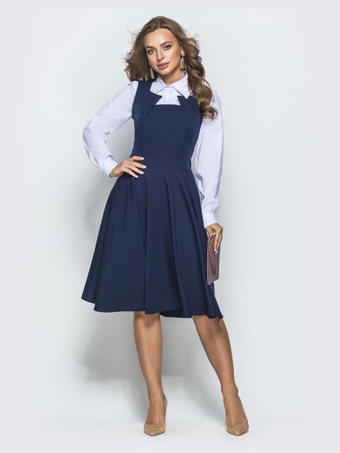 Синий сарафан с фигурным вырезом и юбкой-полусолнце - 39733, фото 1 – интернет-магазин Dressa
