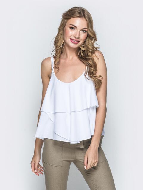 Топ белого цвета с воланами - 39371, фото 1 – интернет-магазин Dressa