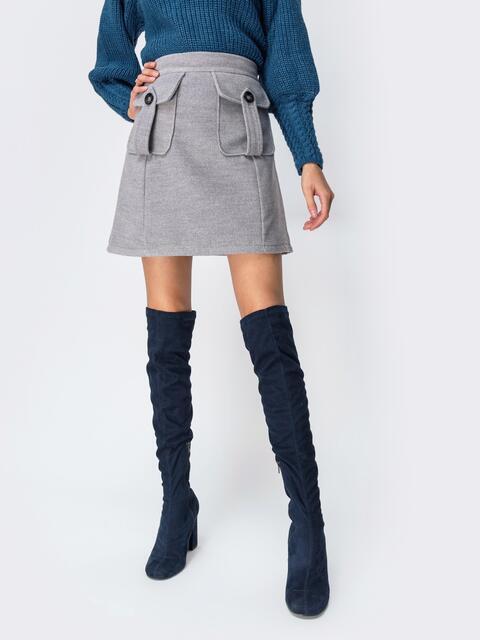 Юбка серого цвета с накладными карманами - 42115, фото 1 – интернет-магазин Dressa