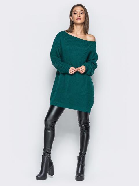 Зелёное платье-туника свободного кроя с открытыми плечами - 15925, фото 1 – интернет-магазин Dressa