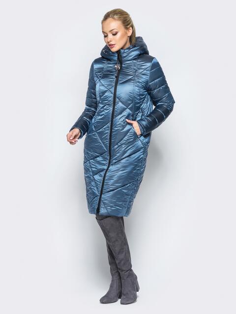 Зимняя куртка голубого цвета с кулиской на капюшоне - 16989, фото 1 – интернет-магазин Dressa