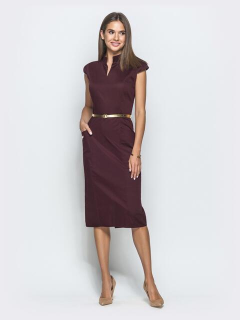 """Бордовое платье-футляр с рукавом """"крылышко"""" - 39731, фото 1 – интернет-магазин Dressa"""