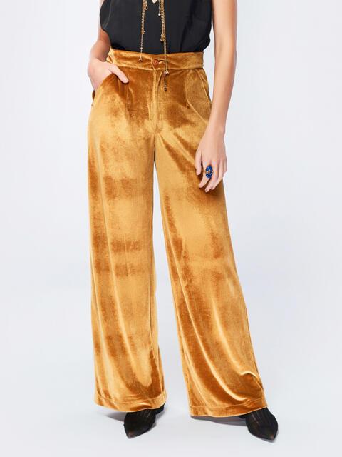 Брюки-гаучо янтарного цвета из велюра - 17505, фото 1 – интернет-магазин Dressa