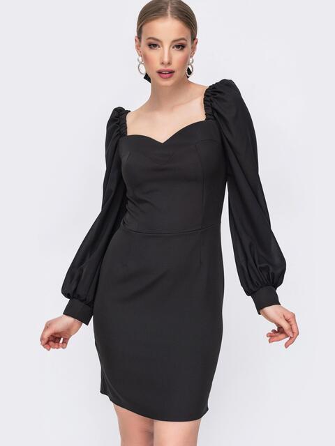 Чёрное платье-футляр с фигурным вырезом - 45676, фото 1 – интернет-магазин Dressa
