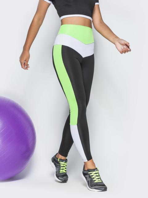 Лосины для фитнеса с завышеной посадкой и салатовыми вставками - 38812, фото 1 – интернет-магазин Dressa