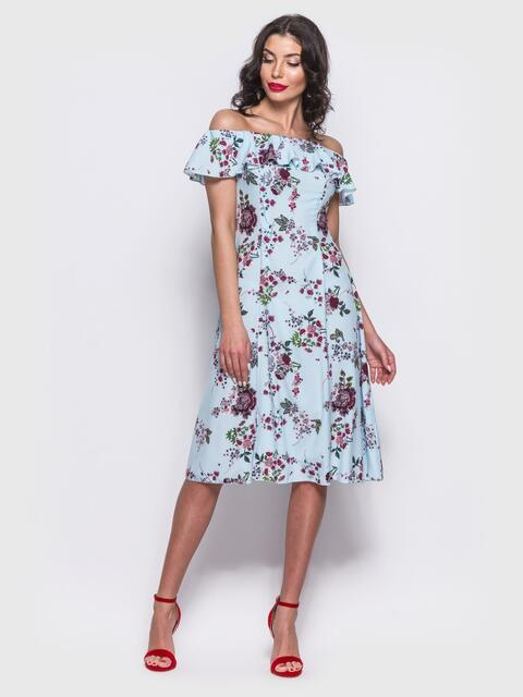 Платье-бюстье А-силуэта голубое - 11478, фото 2 – интернет-магазин Dressa