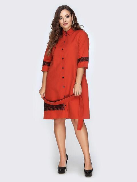 Платье-рубашка красного цвета с гипюровыми вставками - 19167, фото 1 – интернет-магазин Dressa