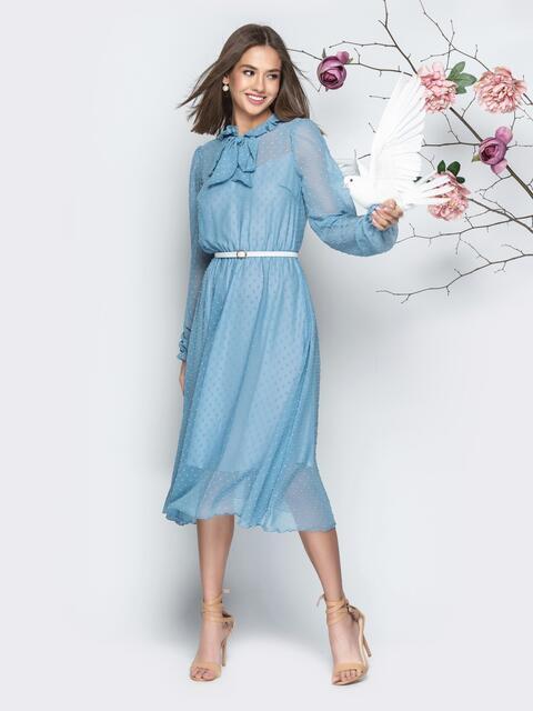Шифоновое платье с подкладкой и воротником-аскот голубое - 21008, фото 1 – интернет-магазин Dressa