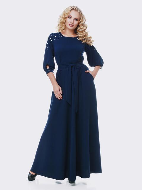 Синее платье в пол с жемчугом - 19109, фото 1 – интернет-магазин Dressa