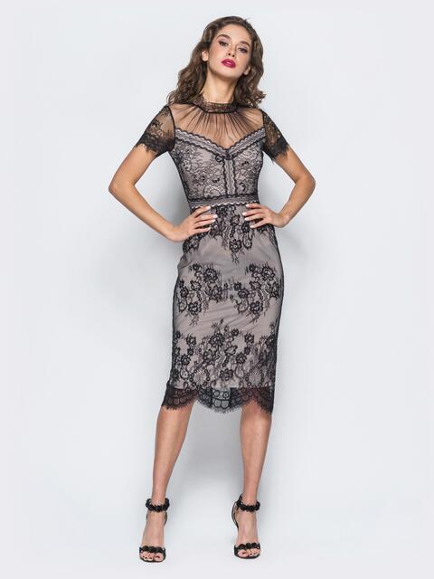 Трикотажное платье-футляр с контрастным кружевом - 17898, фото 1 – интернет-магазин Dressa