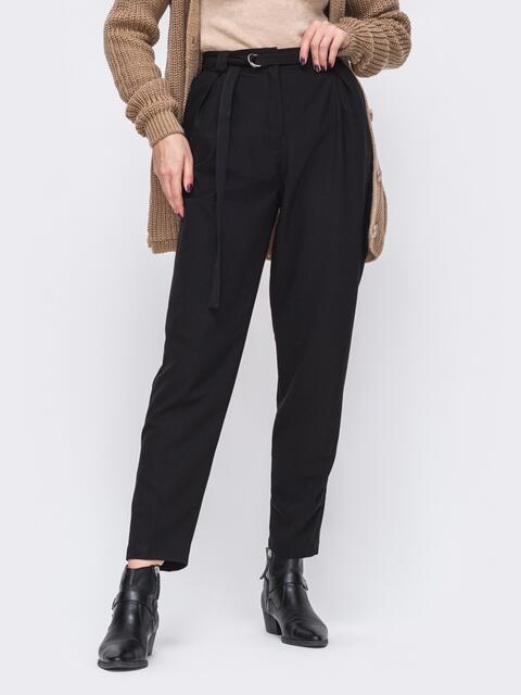 Зауженные брюки с высокой посадкой чёрные 51674, фото 1