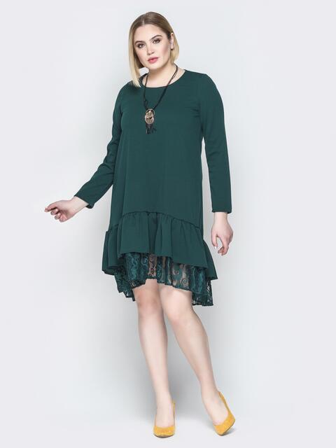 Зелёное платье-трапеция с многослойным воланом по низу - 19954, фото 1 – интернет-магазин Dressa