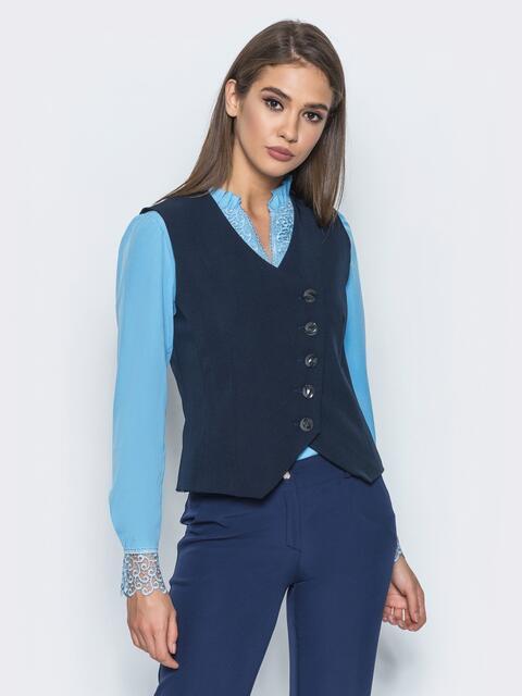 Жилет ассиметричного кроя на пуговицах тёмно-синий - 14444, фото 1 – интернет-магазин Dressa
