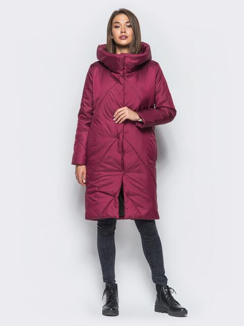 Зимняя стеганая куртка с капюшоном бордовая - 15669, фото 1 – интернет-магазин Dressa