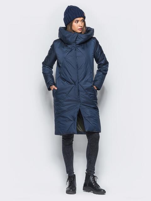 Зимняя стеганая куртка с капюшоном синяя  - 15668, фото 1 – интернет-магазин Dressa