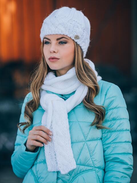 Белый комплект крупной вязки с «косами» - 14896, фото 3 – интернет-магазин Dressa