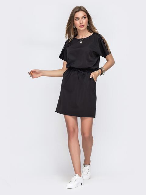 Черное платье с кулиской по талии - 49620, фото 1 – интернет-магазин Dressa
