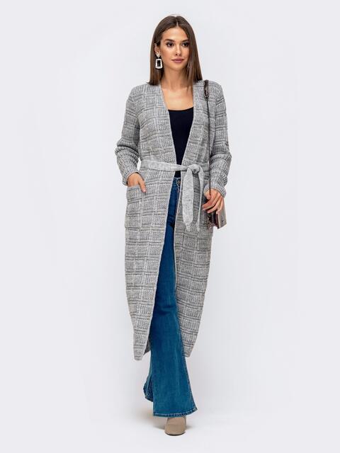 Длинный кардиган с ажурной вязкой и карманами серый 41176, фото 1