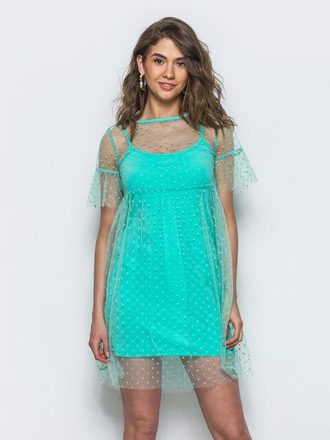Двойное платье-мини с фактурным фатином бирюзовое - 12664, фото 1 – интернет-магазин Dressa