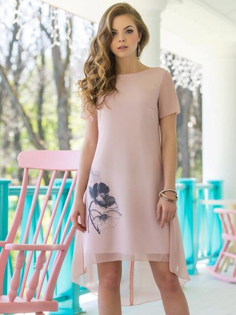 Двухслойное платье из шифона с подкладкой из трикотажного полотна - 11638, фото 1 – интернет-магазин Dressa