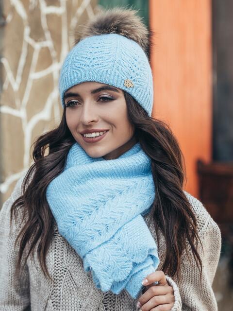 Голубой комплект из шапки и шарфа-палантина - 14942, фото 1 – интернет-магазин Dressa