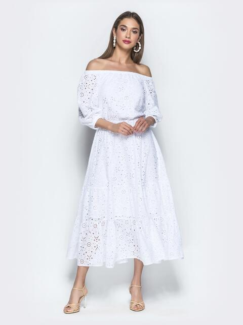 Платье-макси из прошвы с вырезом и манжетами на резинке - 39396, фото 1 – интернет-магазин Dressa