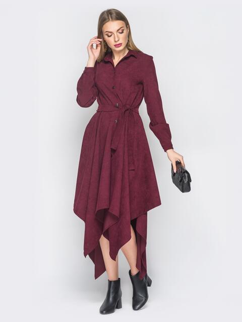 Платье-рубашка бордового цвета с ассиметричным низом - 18769, фото 1 – интернет-магазин Dressa